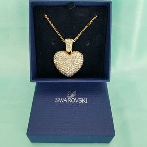 Swarovski Crystal Puff Pave Large Heart Necklace G